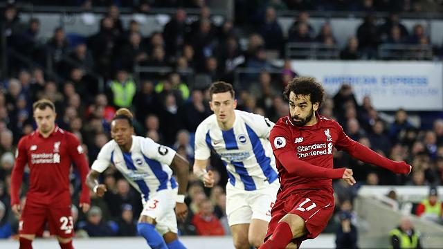 集锦:萨拉赫点球破门 利物浦客场1-0布莱顿