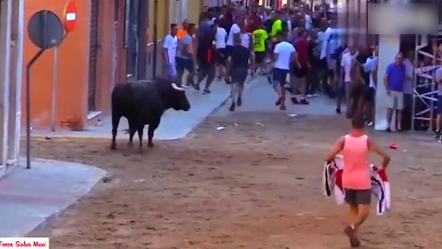 玩的就是心跳!老外街头极限挑战超级斗牛